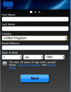 888 android Registration Form