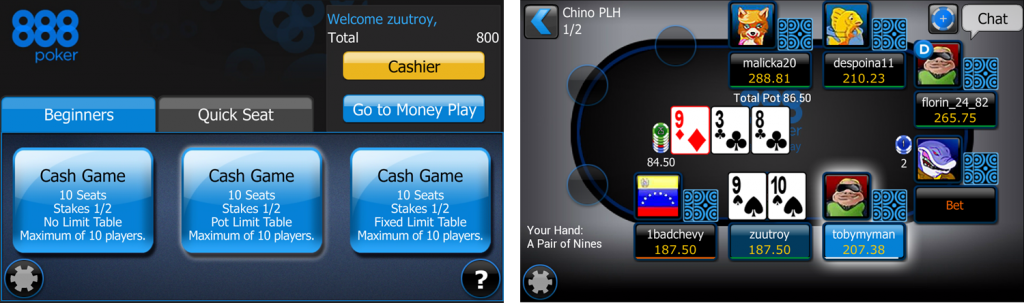 poker app no money